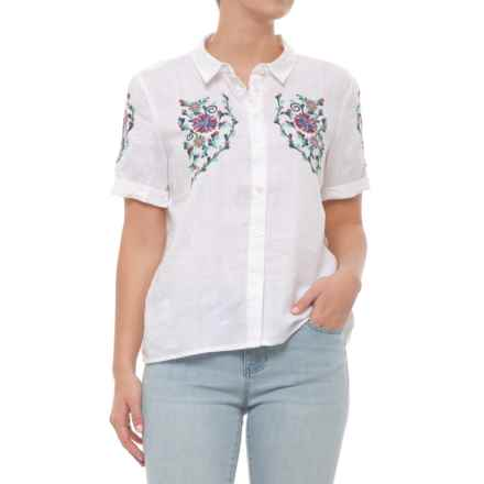 Embroidered Button-Down Shirt - Short Sleeve (For Women) in White / Embroidery - Closeouts