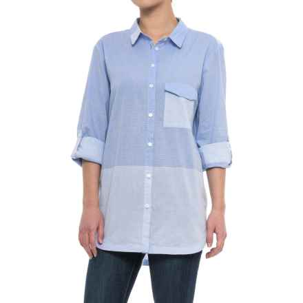Ivonna Shirt - Long Sleeve (For Women) in Blue White Stripe - Closeouts