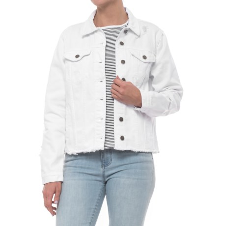 Velvet Heart Jean Jacket (For Women) in Optic White