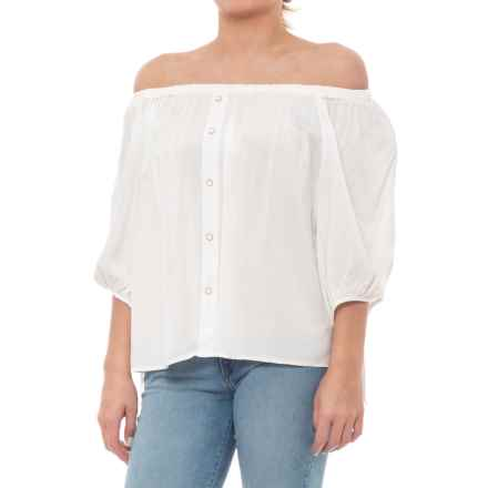Off-the-Shoulder Shirt - 3/4 Sleeve (For Women) in White - Closeouts