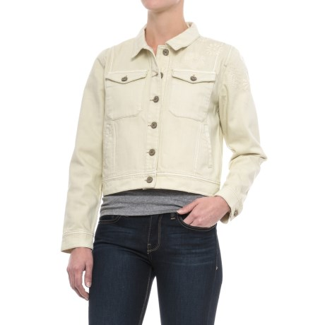 Velvet Heart Rosetta Classic Denim Jacket (For Women) in Natural Embroidery