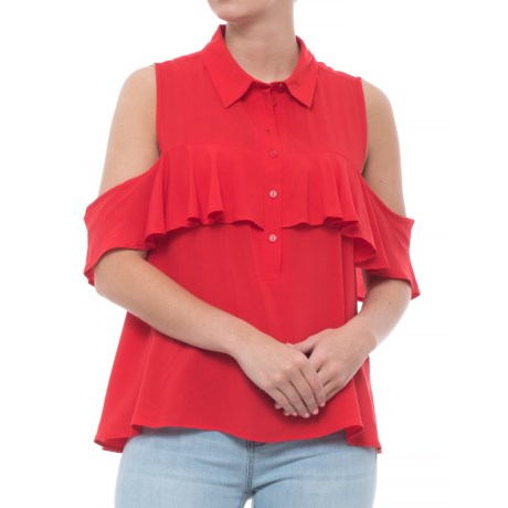 Velvet Heart Ruffled Cold Shoulder Shirt - Short Sleeve (For Women) in Scarlet