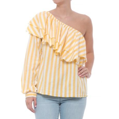 Velvet Heart Ruffled One-Shoulder Shirt - Long Sleeve (For Women) in Yellow White Stripe