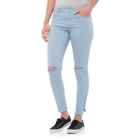 Velvet Heart Skinny Distressed Zipper Jeans (For Women) in By Water