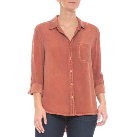 Tab Sleeve Button Down Shirt - Long Sleeve (For Women) in Dirty Autumn Red - Closeouts