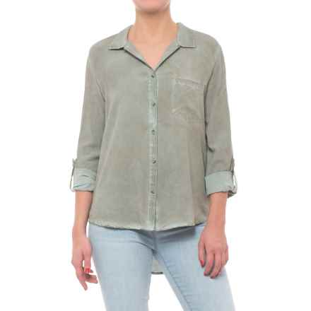 Tab Sleeve Button Down Shirt - Long Sleeve (For Women) in Dirty Dark Olive - Closeouts