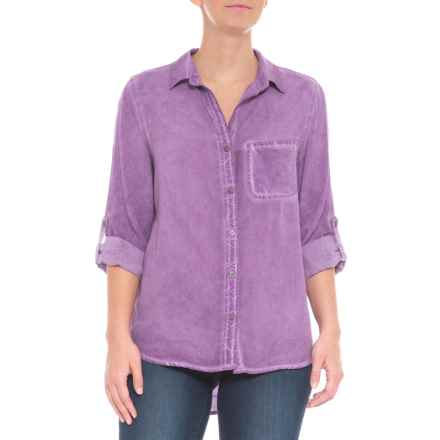 Tab Sleeve Button Down Shirt - Long Sleeve (For Women) in Dirty Tangled Plum - Closeouts