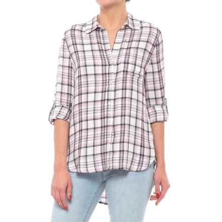 Tab Sleeve Button Down Shirt - Long Sleeve (For Women) in Pink Plaid - Closeouts