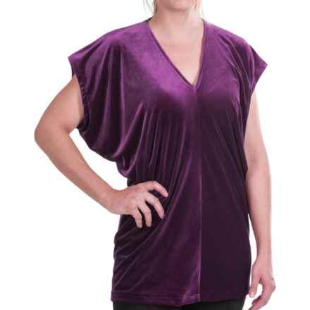 Velvet V-Neck Shirt - Short Dolman Sleeve (For Women) in Rich Eggplant - Closeouts
