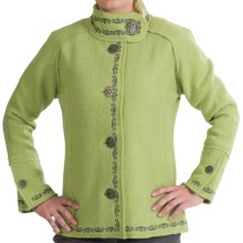 Venario Anita Boiled Wool Jacket - Embroidered Edge (For Women) in Green - Closeouts