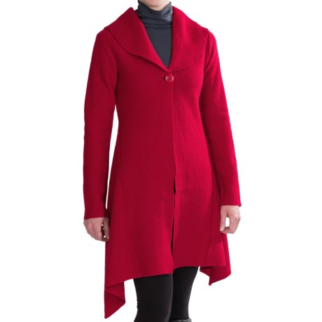 Venario Dawn Boiled Wool Jacket (For Women) in Red
