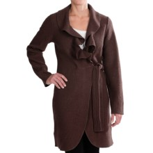 Venario Julia Wrap Jacket - Ruffled Collar, Boiled Wool (For Women) in Brown - Closeouts