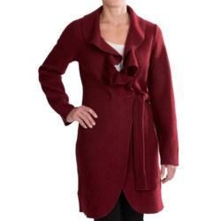 Venario Julia Wrap Jacket - Ruffled Collar, Boiled Wool (For Women) in Burgundy