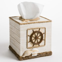 Veratex Boathouse Bath Collection Tissue Box Cover in See Detail