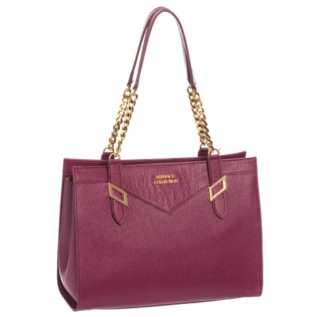 Versace Collection Leather Satchel (For Women) in Port Wine