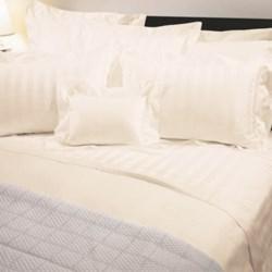 Versai Basics Reversible Tonal Stripe Italian Duvet Set - King, 300 TC Egyptian Cotton in Ivory