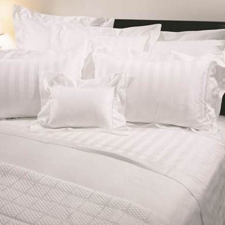 Versai Basics Tonal Stripe Italian Sheet Set - King, 300 TC Egyptian Cotton in White