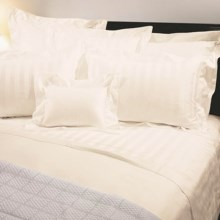 Versai Basics Tonal Stripe Italian Sheet Set - Queen, 300 TC Egyptian Cotton in Ivory - Overstock
