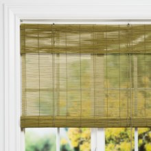 "Versailles Bamboo Roll-Up Shade with 6"" Valance - 30x72"" in Willow - Closeouts"
