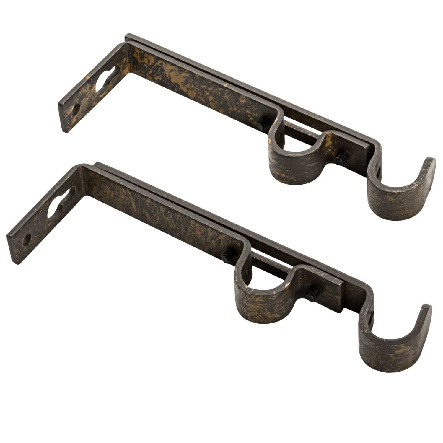 designer collection double curtain rod brackets pair in rustic