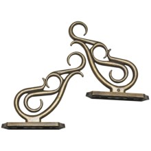 Versailles Double Scroll Brackets - Set of 2, Metal in Antique Brass - Closeouts
