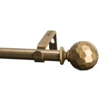 "Versailles Hammered Ball Curtain Rod Set - Adjustable 66-120"" in Antique Gold - Closeouts"