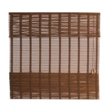 "Versailles Sun Sheer Bamboo Roman Shade - 30x64"" in Brown - Closeouts"