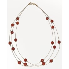 "Vessel Amber Bead Necklace - Gold Tone, 16"" (For Women) in Amber/Gold - Closeouts"