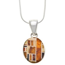 "Vessel Amber Mosaic Pendant Necklace - 18"" Snake Chain in Honey Amber/Green Amber/Sterling Silver - Closeouts"