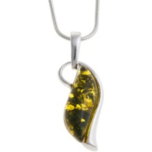 Vessel Amber Swirl Pendant Necklace - Green Amber in Green Amber/Sterling Silver - Closeouts