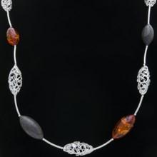 Vessel Black Oak Amber Necklace - Sterling Silver in Honey/Black Oak/Silver - Closeouts