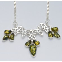 Vessel Celtic Knot Amber Necklace in Green Amber/Sterling Silver - Closeouts