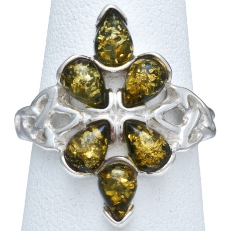 Vessel Green Amber Celtic Knot Ring - Sterling Silver in Green Amber/Sterling Silver