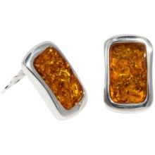 Vessel Honey Amber Earrings - Clip-Ons in Honey Amber/Sterling Silver - Closeouts