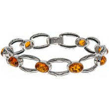 Vessel Honey Amber Link Bracelet in Honey Amber/Sterling Silver - Closeouts