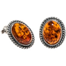 Vessel Honey Amber Oxidized Braid Earrings - Post Backs in Honey Amber/Sterling Silver - Closeouts