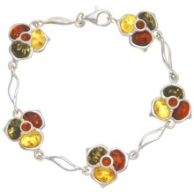 Vessel Multicolor Amber Flower Bracelet - Sterling Silver in Honey Amber/Green Amber/Citrine Amber/St Silver - Closeouts