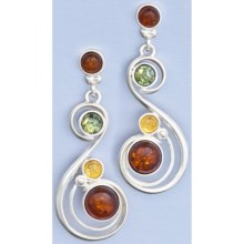 Vessel Multicolor Amber Swirl Post Earrings in Honey Amber/Green Amber/Citrine Amber/St Silver - Closeouts