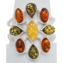 Vessel Multicolored Amber Teardrop Ring in Honey/Green/Citrine Amber/Silver - Closeouts