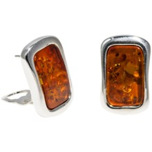 Vessel Rectangular Honey Amber Earrings - Convertible Post/Clip-On Backs in Honey Amber/Sterling Silver - Closeouts