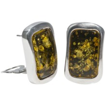 Vessel Rectangular Honey Earrings - Convertible Post/Clip-On Backs in Green Amber/Sterling Silver - Closeouts