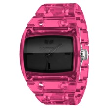Vestal Destroyer Plastic Watch in Translucent Pink/Black - Closeouts