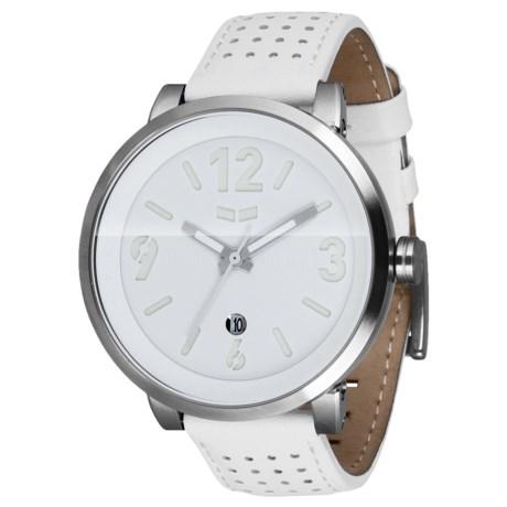 Vestal Doppler Slim Watch - Leather Strap in White/Brushed Silver