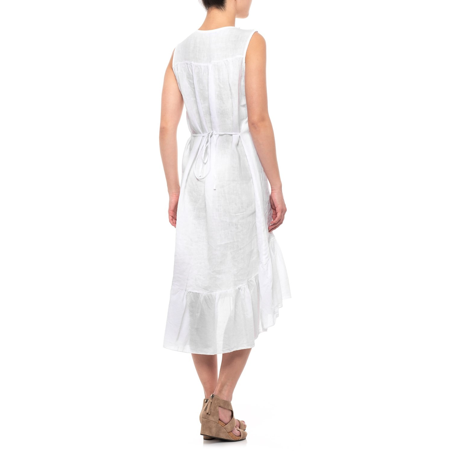 43509be2bd3 Via Signoria Made in Italy Off White Gold Embellished Maxi Dress - Linen