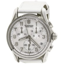 Victorinox Swiss Army Chrono Classic Diamond Watch - Leather Band (For Women) in White/White - Closeouts