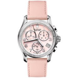 Victorinox Swiss Army Chrono Classic Watch - Leather Strap (For Women) in White Mop/White