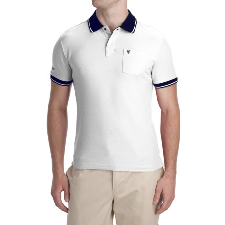 Victorinox Swiss Army Color Blocked Polo Shirt - Pima Cotton-Coolmax®, Short Sleeve (For Men) in 112 Classic White