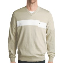 Victorinox Swiss Army Combed Cotton Sweater - V-Neck (For Men) in Stone - Closeouts