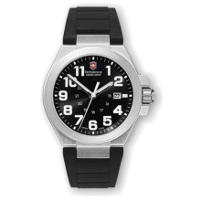 Victorinox Swiss Army Convoy Watch - Rubber Strap (For Men) in Silver/Black Strap - Closeouts