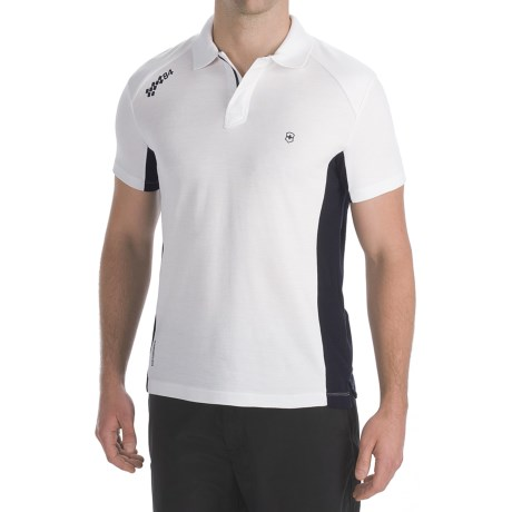 Victorinox Swiss Army CoolMax® Color-Block Polo Shirt - Pima Cotton, Short Sleeve (For Men) in Classic White/Navy
